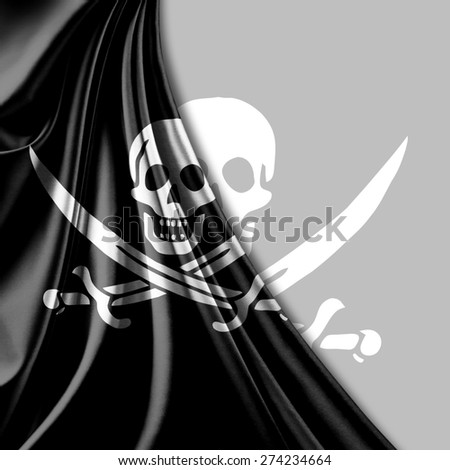 Pirate flag of fabric texture and white background - stock photo