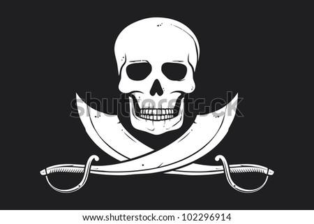 Pirate flag (skull and crossed sabers, pirates flag, pirates symbol) - stock photo