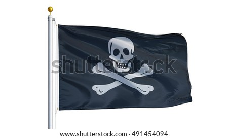 Pirate flag waving on white background, close up, isolated with clipping path mask alpha channel transparency