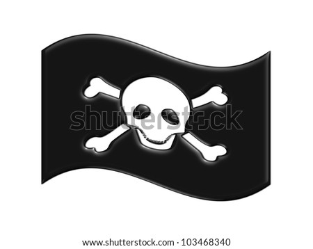pirate flag with skull and bones / pirates symbol - stock photo