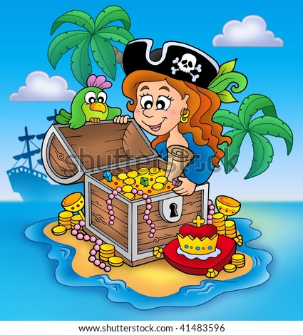 Pirate girl and treasure - color illustration. - stock photo
