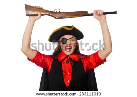 Pirate girl holding gun isolated on white - stock photo