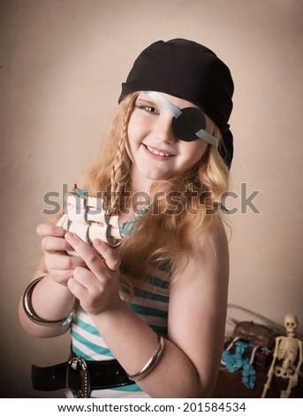 pirate girl in studio - stock photo