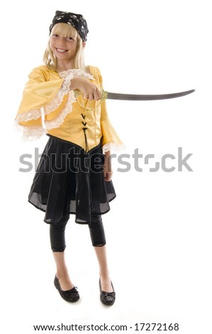 Pirate Girl Ready to Pillage and Plunder! Aargh! - stock photo