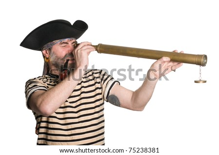 Pirate looks through a telescope and smokes a pipe.  Isolated on white. - stock photo