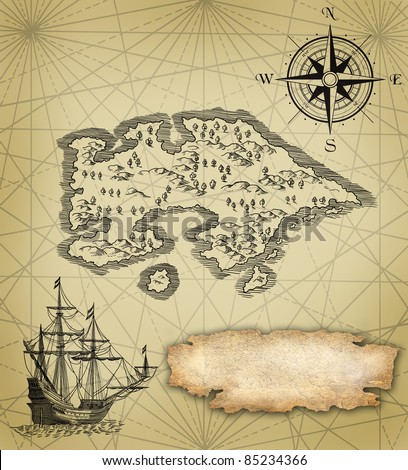 Pirate map illustration - stock photo