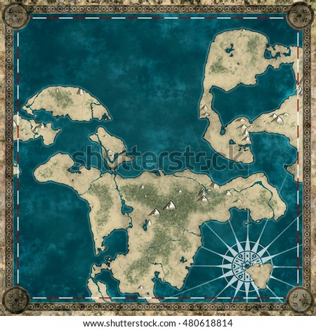 Pirate map of the unknown land 3d rendering