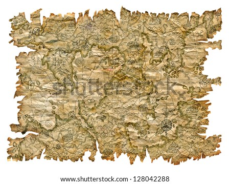 Pirate map of the unknown land isolated - stock photo