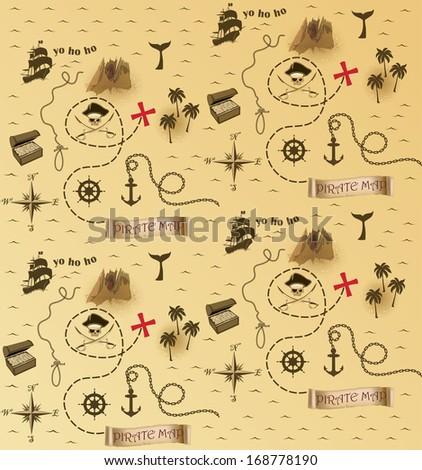 Pirate map pattern - stock photo