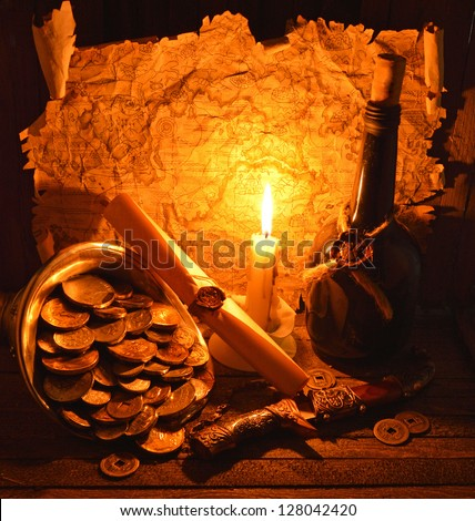 Pirate map with candle 2 - stock photo