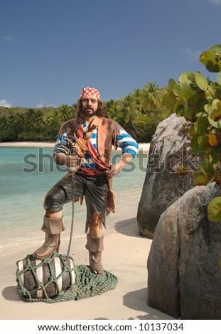 Pirate on a Caribbean beach - stock photo