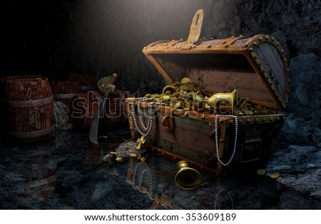 Pirate's chest in a dark cave