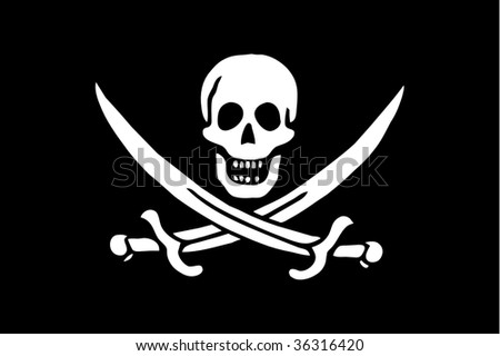 Pirate sabres and scull sign on black background as a flag