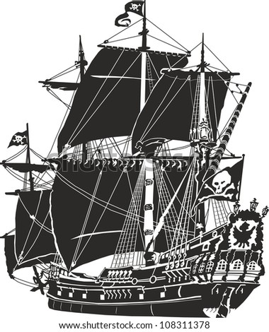pirate ship - stock photo