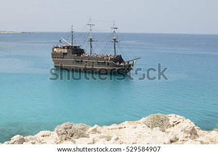 pirate ship for tourists Black Pearl of the Mediterranean, Cyprus, Ayia Napa Beach, May 2012