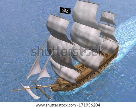 Pirate ship holding black Jolly Roger flag and floating on the ocean - stock photo