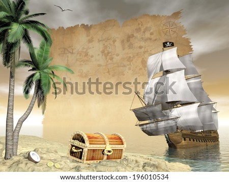 Pirate ship holding black Jolly Roger flag floating on the ocean toward an island showing treasure box by cloudy sunset with seagulls flying and old map - stock photo