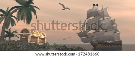Pirate ship holding black Jolly Roger flag floating on the ocean toward and island showing treasure box by cloudy sunset with seagulls flying - stock photo