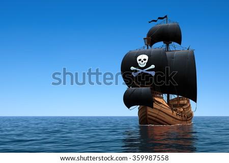 Pirate Ship In The Ocean. 3D Scene. - stock photo