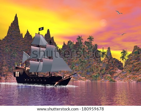 Pirate ship next to the coat by colorful sunset with seagulls - stock photo