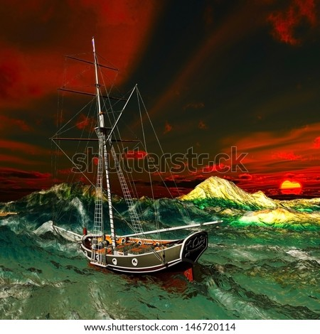 Pirate ship on stormy weather - stock photo