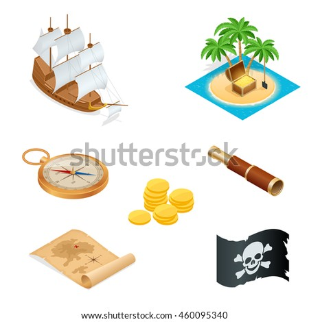 Pirate ship, treasure map, the island with the treasure, compass, coins, telescope, flag. Flat 3d isometric illustration