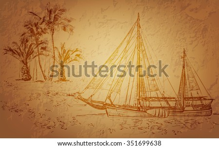 pirate ship vintage illustration. Raster version  - stock photo