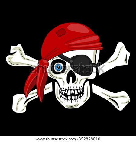 Pirate skull - stock photo