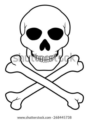 pirate skull and crossbones illustration isolated on white background - stock photo