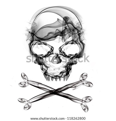 pirate skull isolated on white background - stock photo