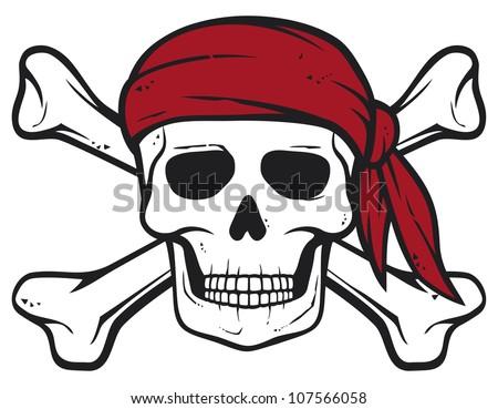 pirate skull, red bandana and bones (pirates symbol, skull and cross bones, skull with crossed bones) - stock photo