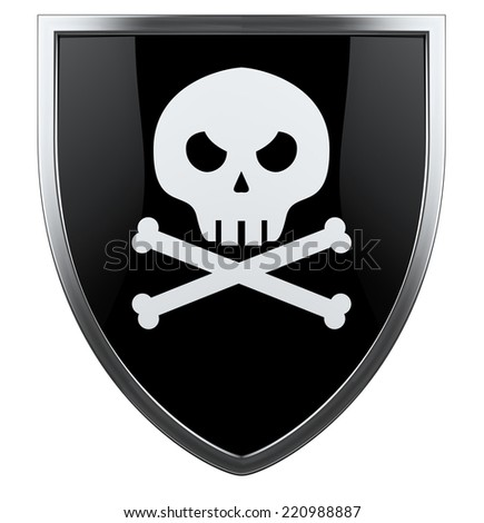 Pirate skull with crossed bones black and white shield.
