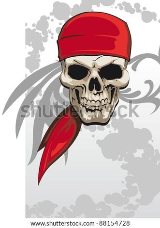 Pirate skull with red bandana background - raster version - stock photo