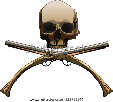 Pirate symbol Jolly Roger with two cross pistol isolated on white background - stock photo