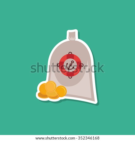 Pirate treasure bag of gold coins on blue background. Modern style flat.  - stock photo