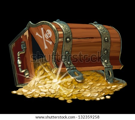 pirate treasure chest isolated on black background - stock photo
