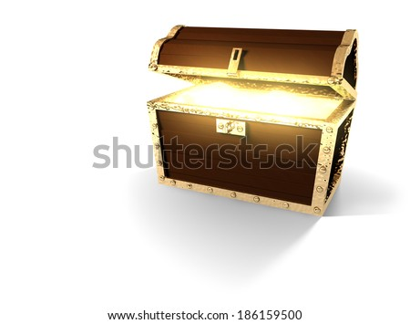 Pirate Treasure Chest With Glowing Gold - stock photo