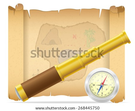 pirate treasure map telescope with compass illustration isolated on white background - stock photo