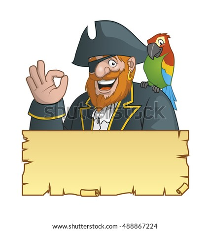 Pirate with his parrot ,and a treasure map