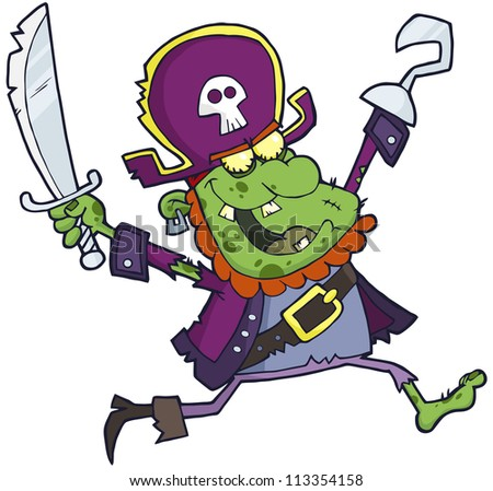 Pirate Zombie  With A Sword. Raster Illustration.Vector version also available in portfolio. - stock photo