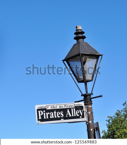 Pirates Alley Street Sign In New Orleans, Louisiana, French Quarter