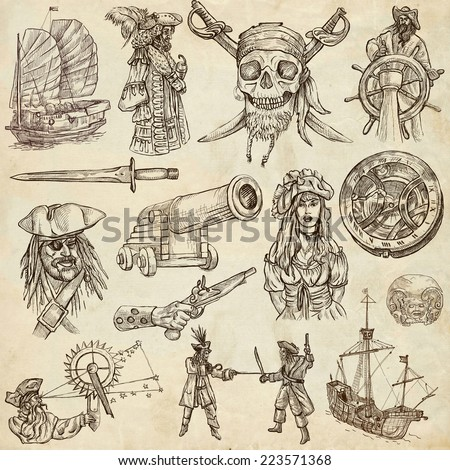 Pirates, Buccaneers and Sailors - Collection (no.2) of an hand drawn illustrations. Full sized hand drawn illustrations drawing on old paper. - stock photo