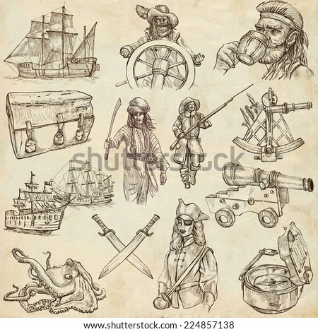 Pirates, Buccaneers and Sailors - Collection (no.3) of an hand drawn illustrations. Full sized hand drawn illustrations drawing on old paper - stock photo