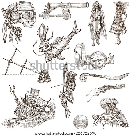 Pirates, Buccaneers and Sailors - Collection (no.5) of an hand drawn illustrations. Full sized hand drawn illustrations drawing on white. - stock photo