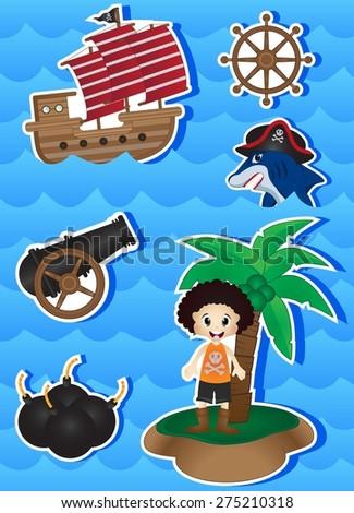 Pirates Cartoon for your design - stock photo