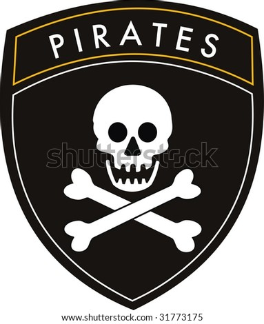 pirates crest flag on withe background