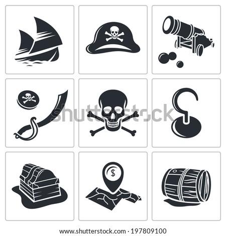 Pirates Icon set  - stock photo