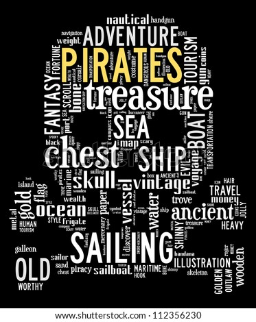 pirates info-text graphics composed in skull and bones shape concept on black background (word clouds) - stock photo