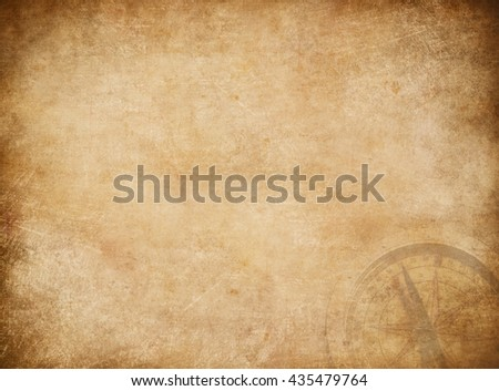 Pirates map background with compass. - stock photo