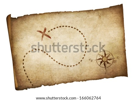 Pirates old treasure map isolated - stock photo